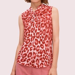 Kate Spade Panthera Twist Neck Shell In Soft Coral